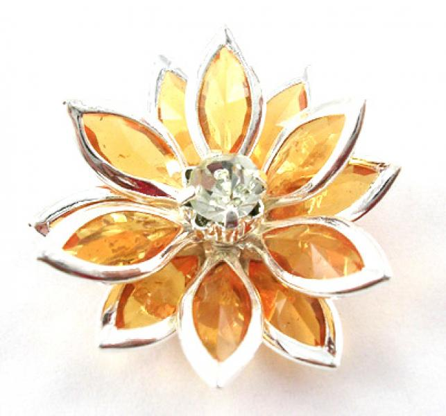 Golden Acrylic Flower Focal Point Bead