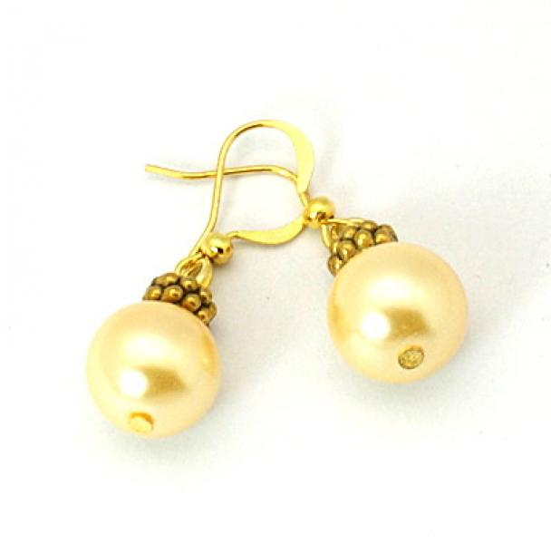 Golden Glass Pearl Tibetan Styled Earrings