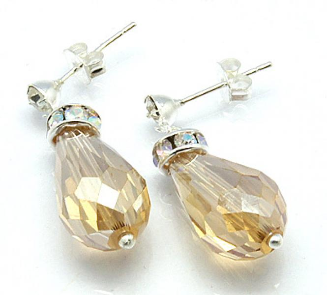 Golden Shine Sparkling Facetted Crystal Earrings