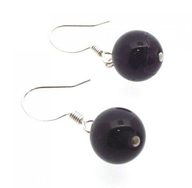 Dark Green Aventurine Gemstone Sphere Earrings