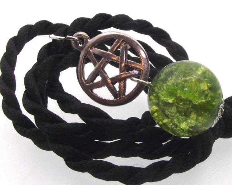 Green Crackle Quartz Pentacle Pendant
