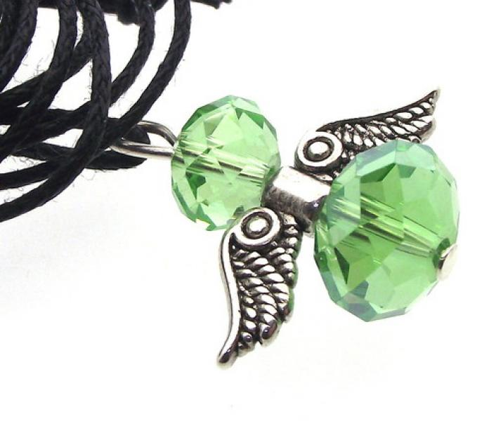 Green Crystal Guardian Angel of Light Pendant
