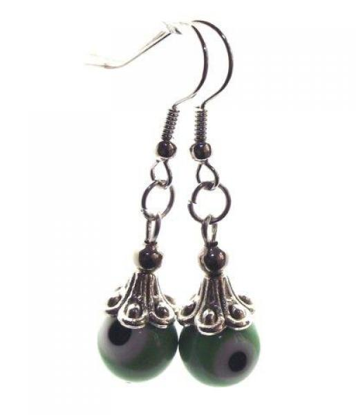 Green Evil Eye Lampwork Glass Earrings