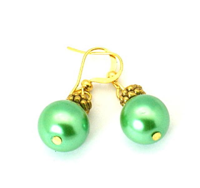 Green Glass Pearl Tibetan Styled Earrings