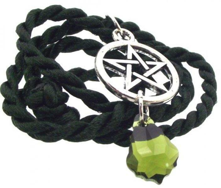 Green Swarovski Baroque Pagan Pentacle Pendant