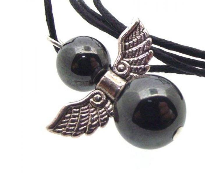 Guardian Angel Hematite Pendant