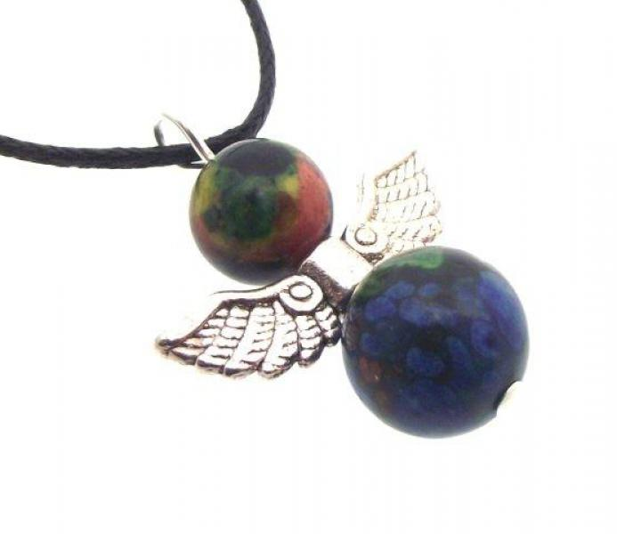 Guardian Angel Rainbow Calsilica Gemstone Pendant