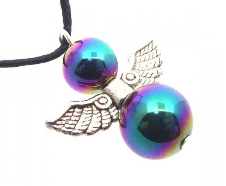 Guardian Angel Rainbow Titanium Hematite Pendant