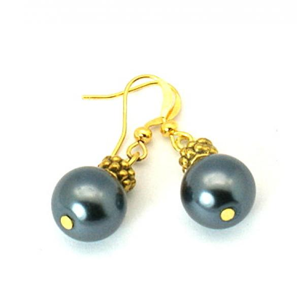 Gun Metal Glass Pearl Tibetan Styled Earrings