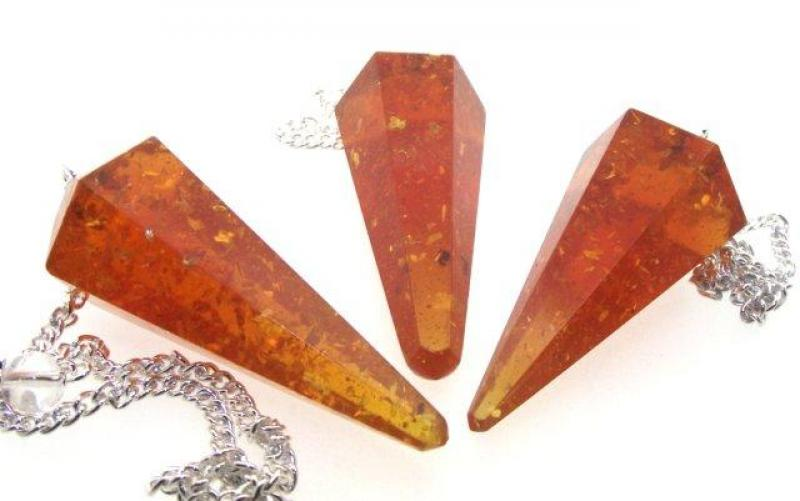 Honey Pressed Amber Divination Pendulum Dowser Crystal