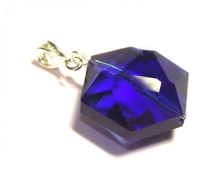 Merlin Blue Andara Crystal Hexagon Pendant with Silk Cord