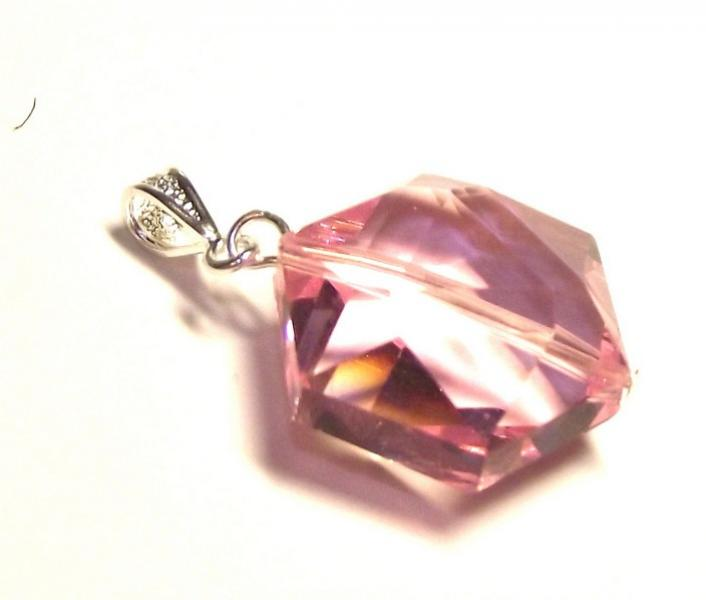 Pink Andara Crystal Hexagon Pendant with Silk Cord
