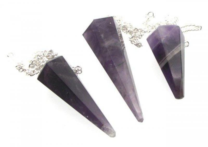 Indian Amethyst Gemstone Pendulum with Chart