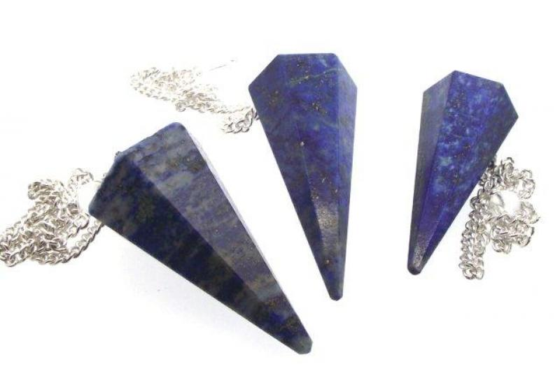 Indian Lapis Lazuli Gemstone Pendulum with Chart