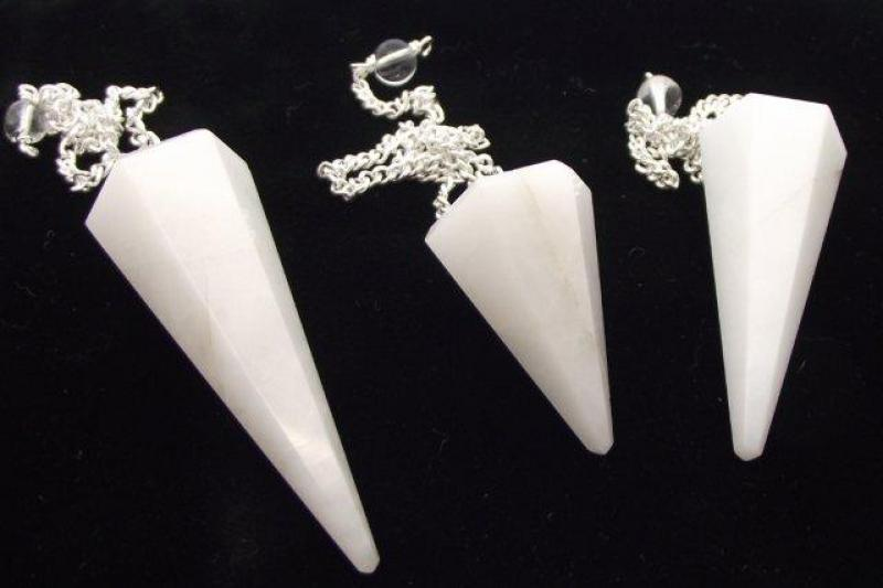 Indian White Aventurine Gemstone Pendulum with Chart