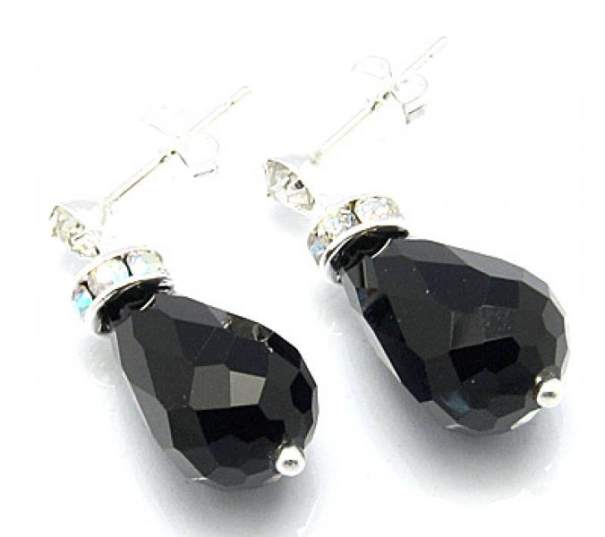 Jet Black Sparkling Facetted Crystal Earrings