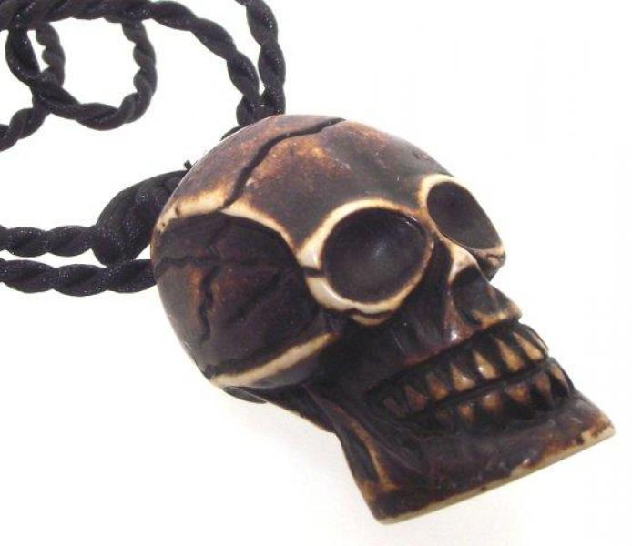 Large Chunky Gothic Resin Skull Pendant with Black Thong