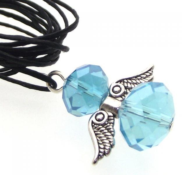 Light Blue Crystal Guardian Angel of Light Pendant
