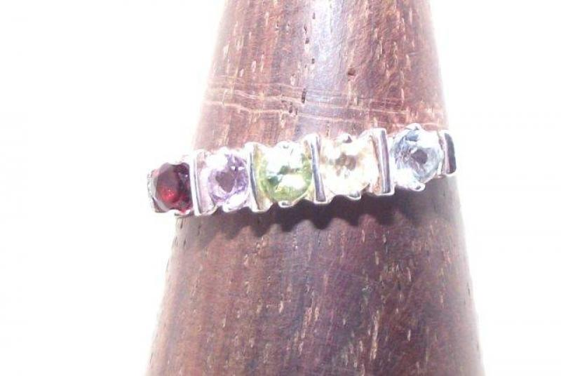 Multiple Cut Gemstone Ring Size P