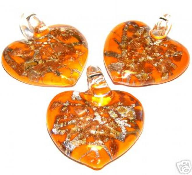 Orange Lampwork Venetian Foil Glass Heart Pendant