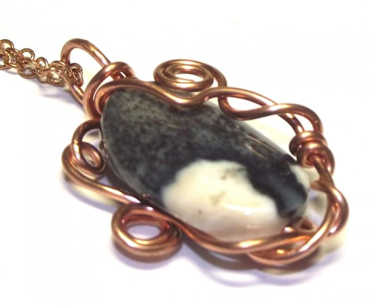 Ocean Jasper Wire Worked Gemstone / Crystal Pendant 2