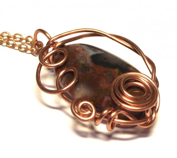 Ocean Jasper Wire Worked Gemstone / Crystal Pendant 3