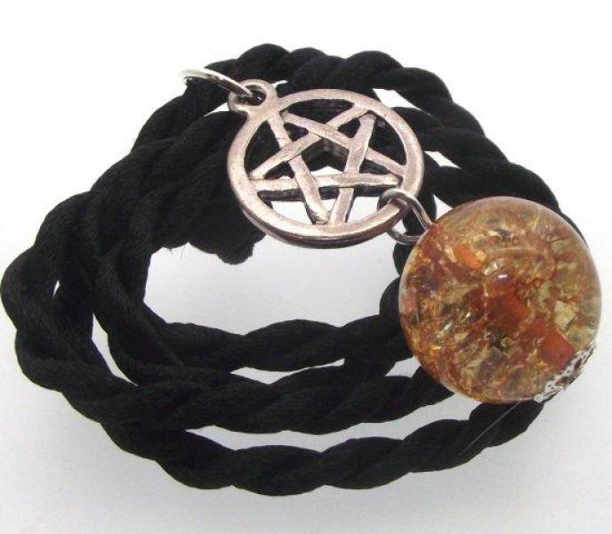 Orange Crackle Quartz Pentacle Pendant