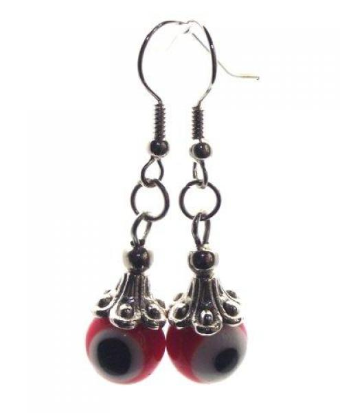 Orange Evil Eye Lampwork Glass Earrings
