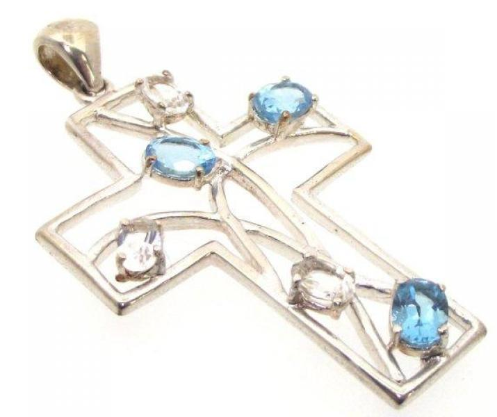 Ornate Blue Topaz and Clear Quartz Cross Pendant