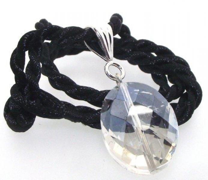 Oval Facetted Quartz Pendant with Black Silk Thong