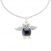 Black Onyx Sterling Silver Owl Pendant + Adjustable Chain