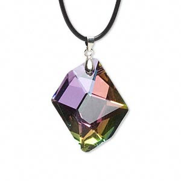 Aurora Borealis Rainbow Glass Freeform Pendant 40Mm