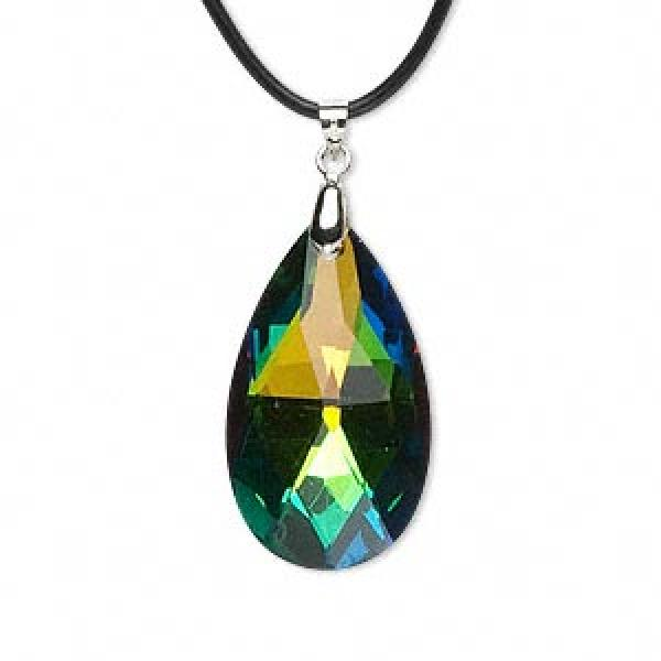 Aurora Borealis Rainbow Glass Teardrop Pendant 38Mm
