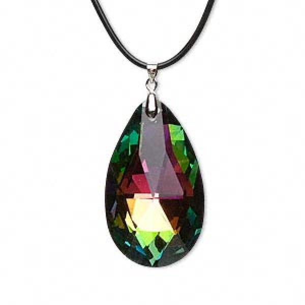 Aurora Borealis Rainbow Glass Teardrop Pendant 50Mm