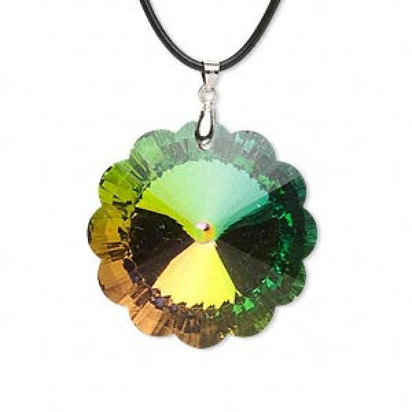 Aurora Borealis Rainbow Glass Flower Pendant 45Mm