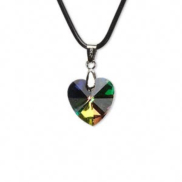 Aurora Borealis Rainbow Glass Heart Pendant 18Mm