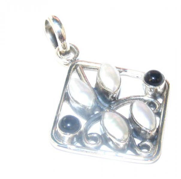 Pearl And Black Agate Eclectic Pendant