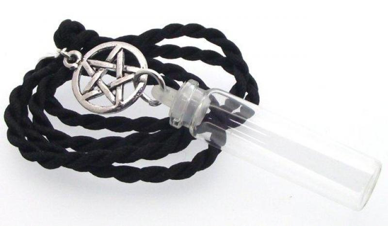 Pentacle Pentagram Spell Bottle Witch Pendant Silk Cord