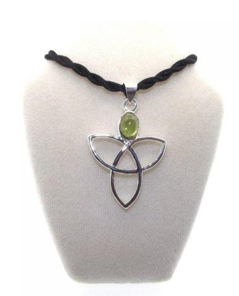 Peridot Gemstone Triquetra Charmed Pendant