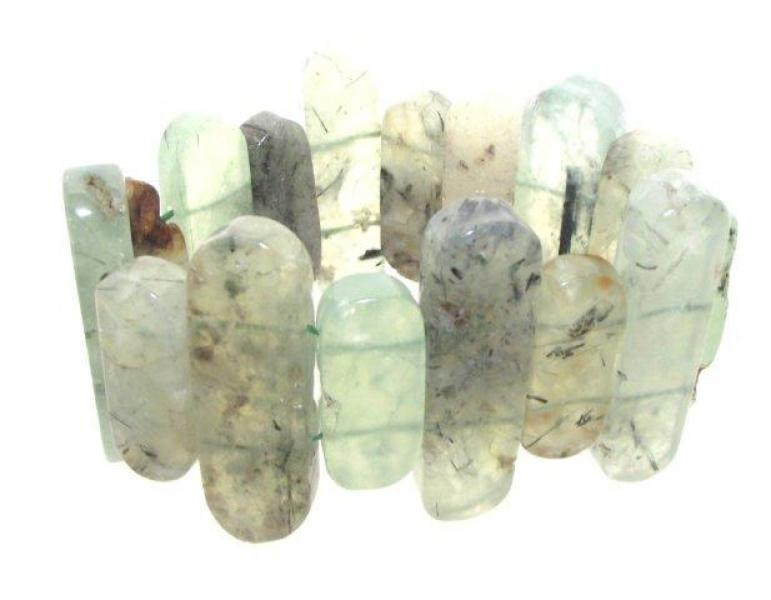 Prehnite Gemstone Large Stick Bracelet