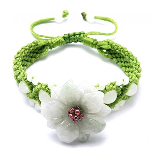 Pretty Green Jade Flower Hand Knotted Cotton Bracelet