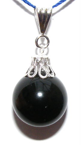 Black Rainbow Obsidian Scrying Sphere Pendant 16mm
