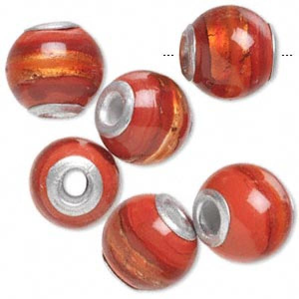 14Mm Red Lampworked Beads