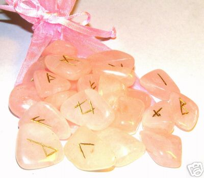 Rose Quartz Rune Set / 25 Elder Futhark Runes