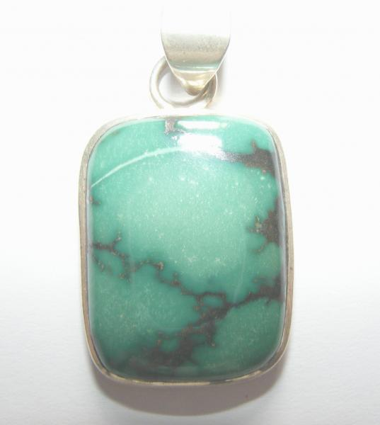 Turquoise Rectangle Pendant - Sterling Silver