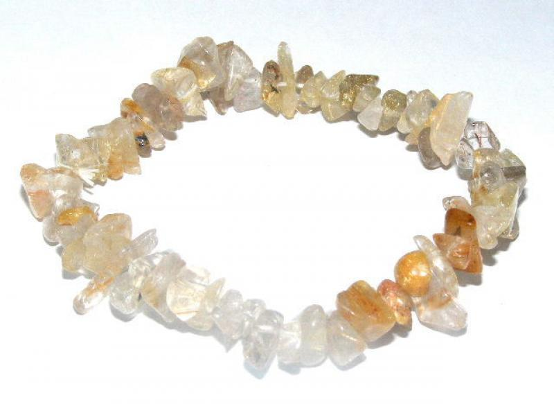 Rutilated Quartz Gemstone Chip Bracelet