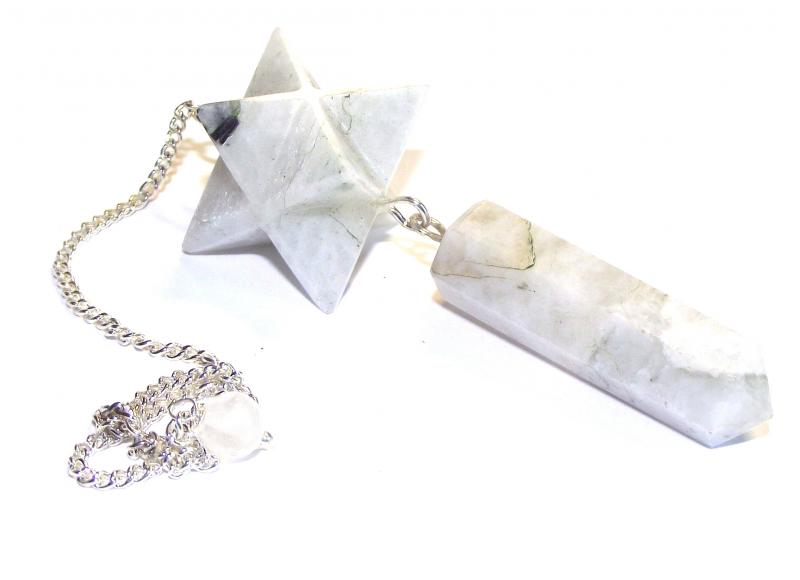 Rainbow Moonstone Merkaba Point Pendulum