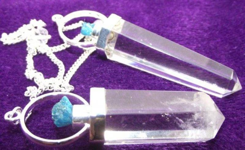 Rare Cavansite and Quartz Crystal Gemstone Pendulum