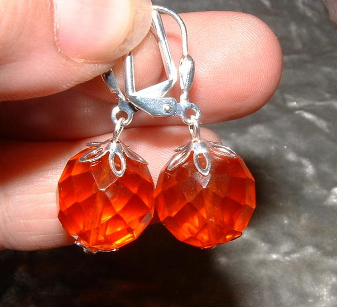 Red Andara Faceted Earrings