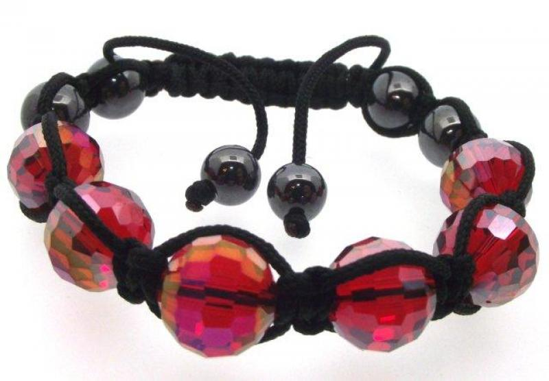 Red Coloured Crystal Glass Bracelet
